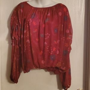 FREE PEOPLE Women's Burgundy Blouse, Size S/P